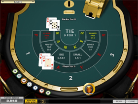Screenshot of a Playtech Baccarat Table